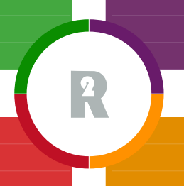 Realise 2 logo with R2 inside a circle with four colours on each quarter of the rim, around the outside of which are four different coloured squares, green, purple, orange and red. These form a quadrant.